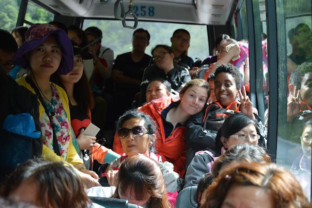 Bus dans la réserve naturelle de Jiuzhaigou
