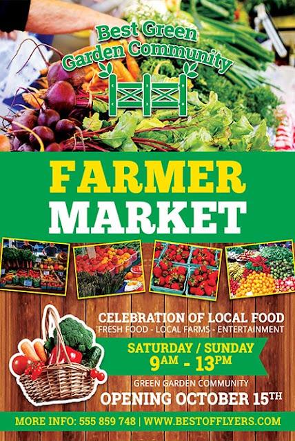 Plantilla para flyers, banner o posters de : venta de verduras, hortalizas o supermercado
