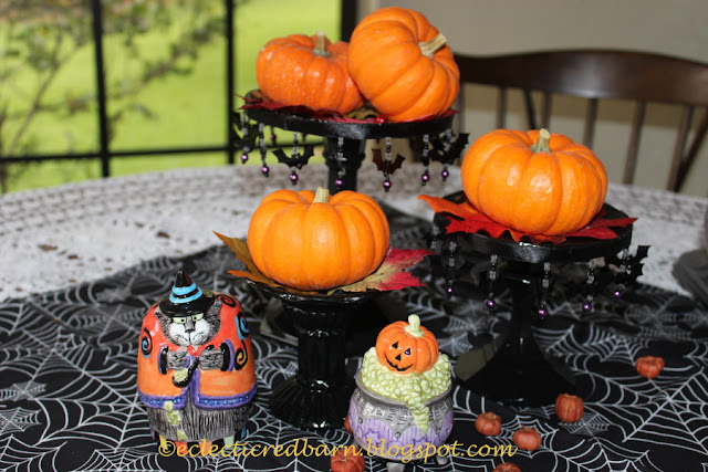 Eclectic Red Barn: Painted Candlesticks and Halloween salt and pepper shaker  vignette
