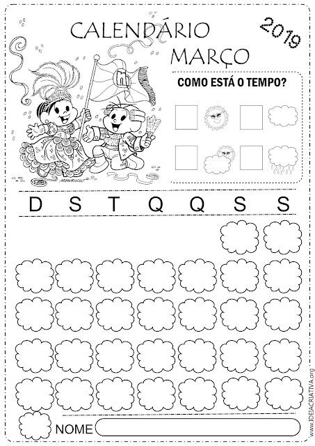 Calendários Março 2019 para imprimir e colorir Turma da Mônica
