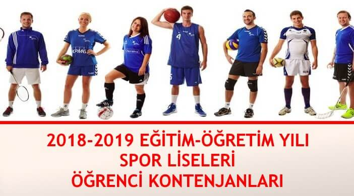 Spor Liseleri Öğrenci Kontenjanları | 2018 - 2019