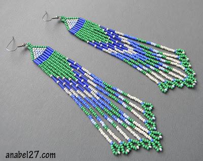 украшения из бисера серьги украина купить очень длинные сережки