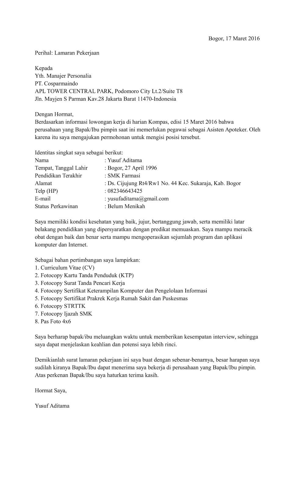 Contoh Surat Lamaran Kerja Di Rumah Sakit Contoh Surat T