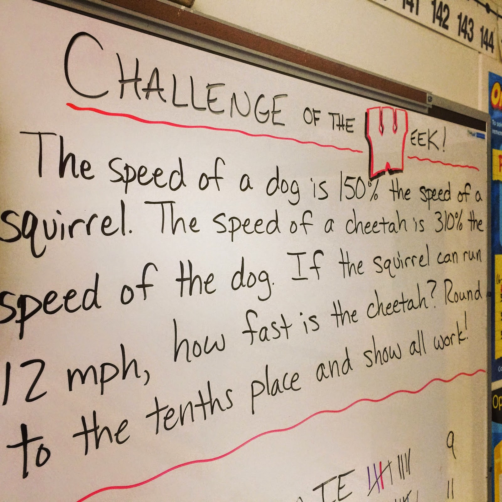middle school math man challenge of the week another problem of the week from our percents fractions and decimals unit this one was from later in the chapter when we learned how to the percent