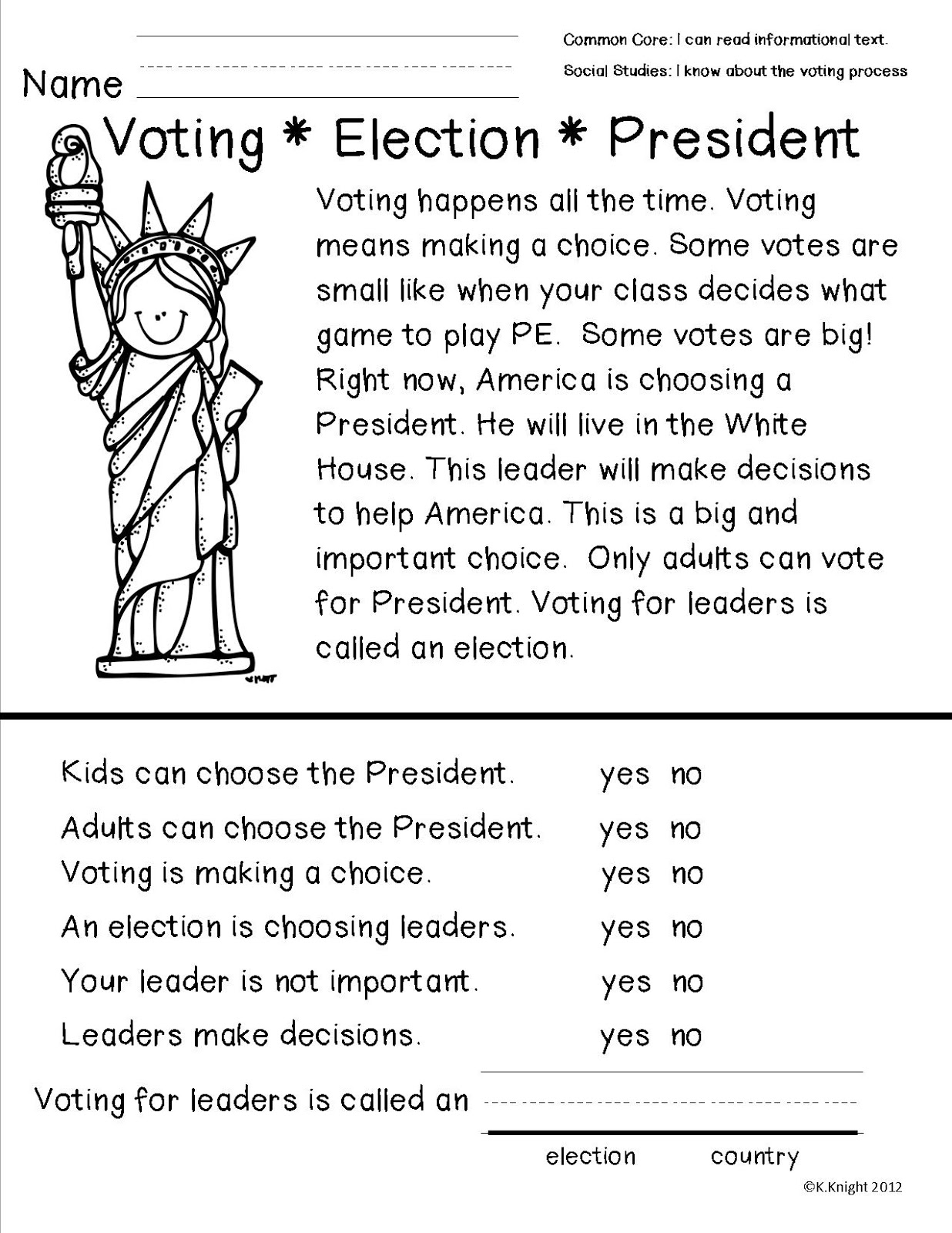 Comprehension Worksheets On Election