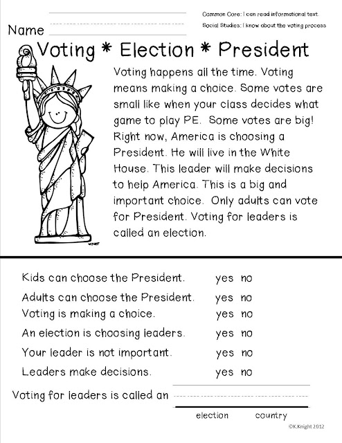 Mock Election Freebie- Yes Please- From Teacher to the Core