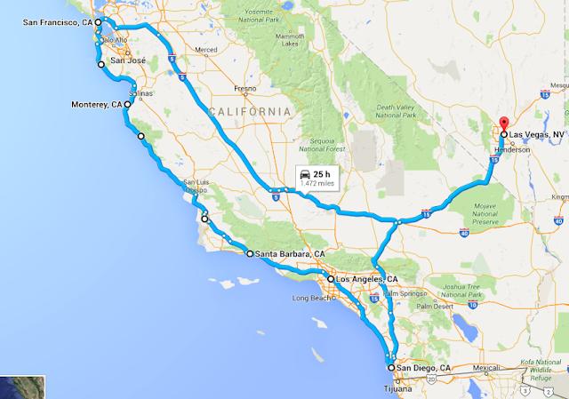 Tempo de viagem de San Francisco à San Diego