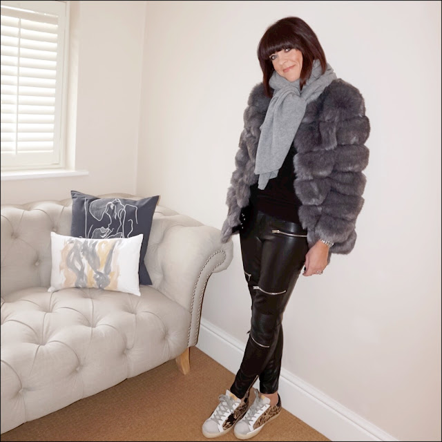 My Midlife fashion, Faux fur coat, zara grey cashmere scarf, faux leather biker trousers, marks and spencer pure cashmere polo neck jumper, golden goose superstar leather panel distressed calf half trainers
