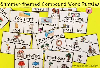 Summer themed Compound Word Activity