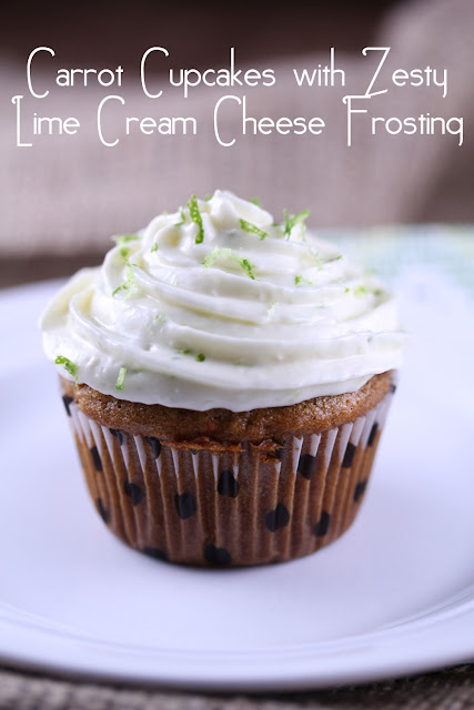 Carrot Cupcakes with Zesty Lime Cream Cheese Frosting