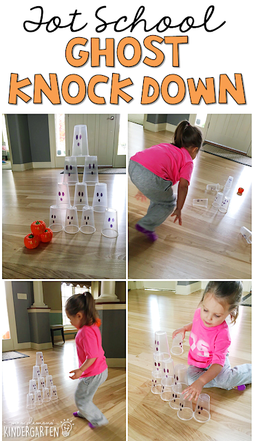 Learning is more fun when it involves movement! Practice throwing throwing, counting, and stacking with this ghost knock down gross motor game. Great for tot school, preschool, or even kindergarten!