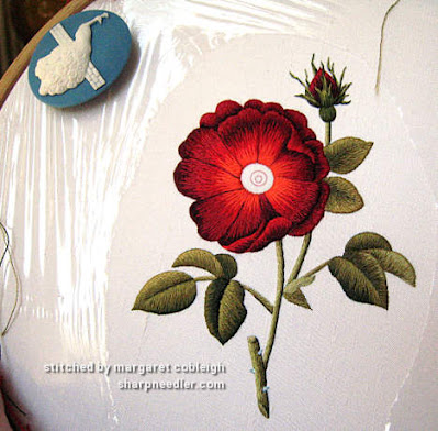 Thread painted rose: petals in silk, leaves and stems in cotton (design by Trish Burr)