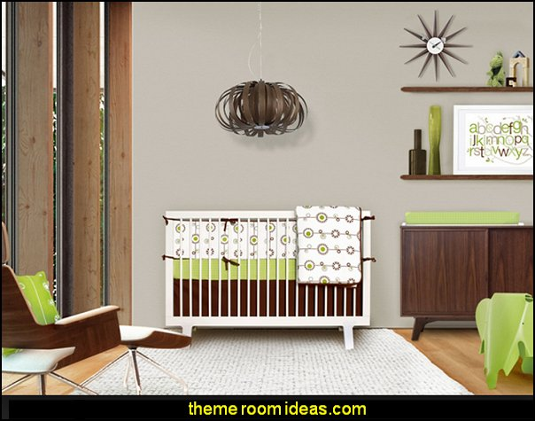 Mid-Century Modern Baby Bedding  Retro mod style decorating ideas - mid century mod style decorating ideas - mid century furniture - Modern Retro eclectic decorating ideas - retro decor - funky modern decorating - 50s, 60s, 70s - Mid century Interiors - retro mod style nursery - mid century modern bedroom