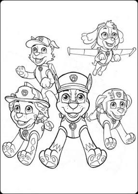 gambar mewarnai karakter paw patrol