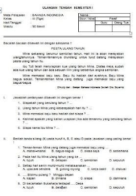 Contoh Soal Latihan UTS SD Kelas III Semester 1 Mata Pelajaran Bahasa Indonesia Format Microsoft Word