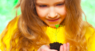 Girl holding dirt and seedling
