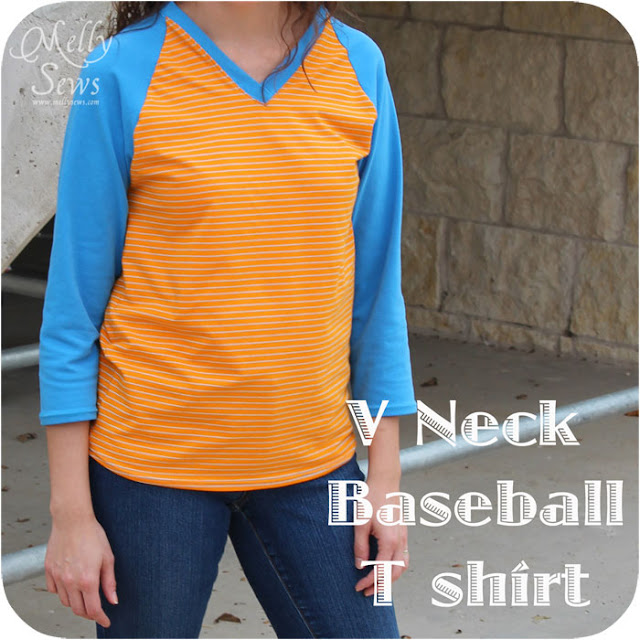 V-Neck Raglan Shirt with free pattern by Melly Sews