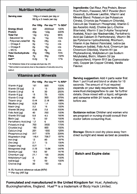 Huel nutrition label