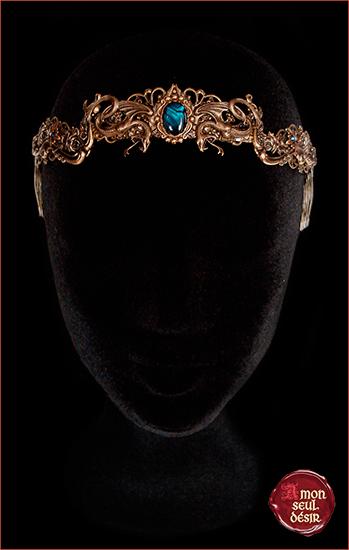 couronne serpent bronze médiévale renaissance haliotis bleu abalone ormeau coquillage bijouterie moyen age fêtes médiévales vouivre fée mélusine femme serpent