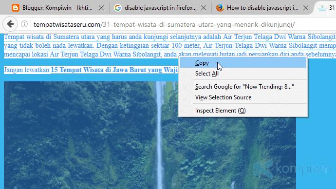 cara copy konten, teks, gambar, dari web yang tak bisa diblok