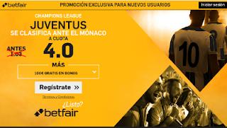 betfair supercuota 4 Juventus se clasifica ante Monaco champions 9 mayo