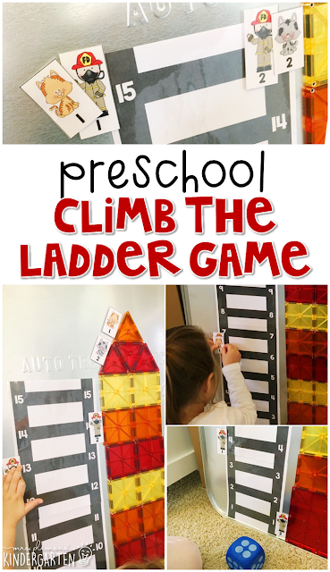 Practice number recognition and counting skills with this climb the ladder fire safety game. Great for tot school, preschool, or even kindergarten!