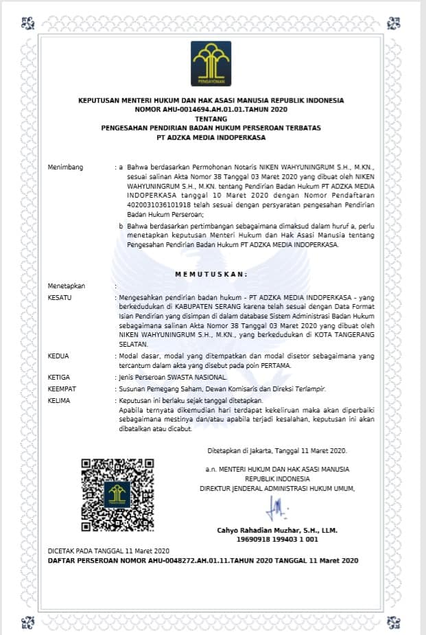 Legalitas Server Adzka Payment PT. Adzka Media Indoperkasa