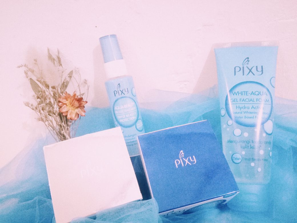 Review Pixy White Aqua Series Unboxing First Impression For The Beauty Protecting Mist Spray 60 Ml Tadaaaa Satu Set Skin Care Yes You Read It Right Dari Mulai Gel Facial Foam