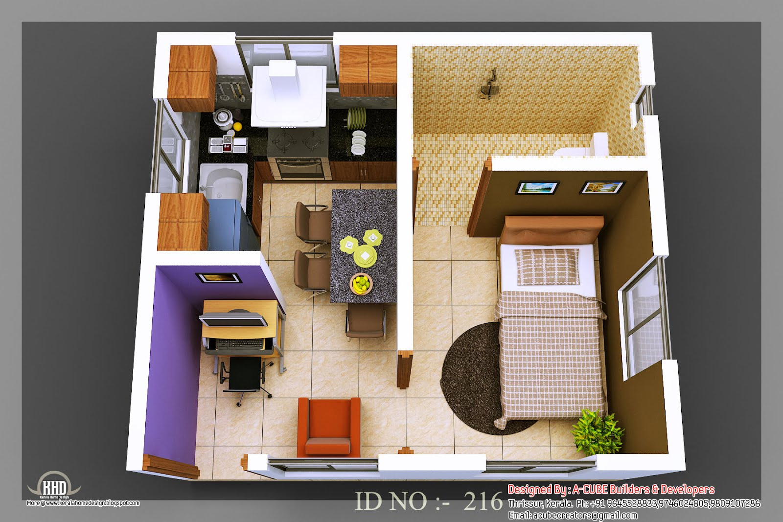 3D isometric views of small house plans - Kerala home ...
