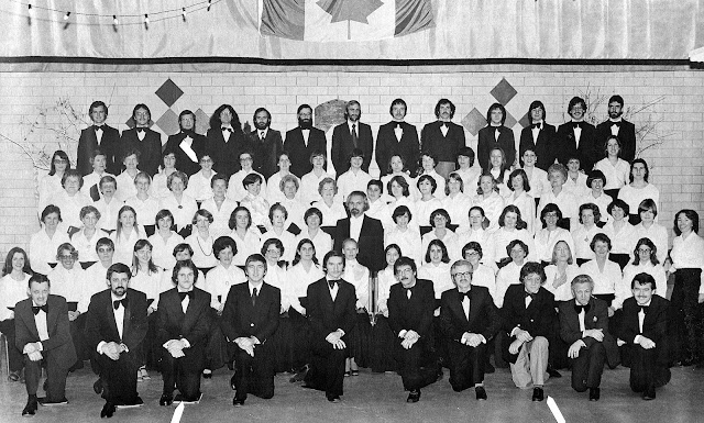 U of O choir c. 1977 - Pierre Massie front row - 3rd from the left. Denyse back row,ladies, 5th from the left.