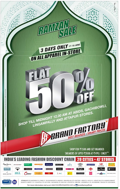 Ramzan festival Sale - Flat 50% off in Brand Factory | June 2016 discount offer