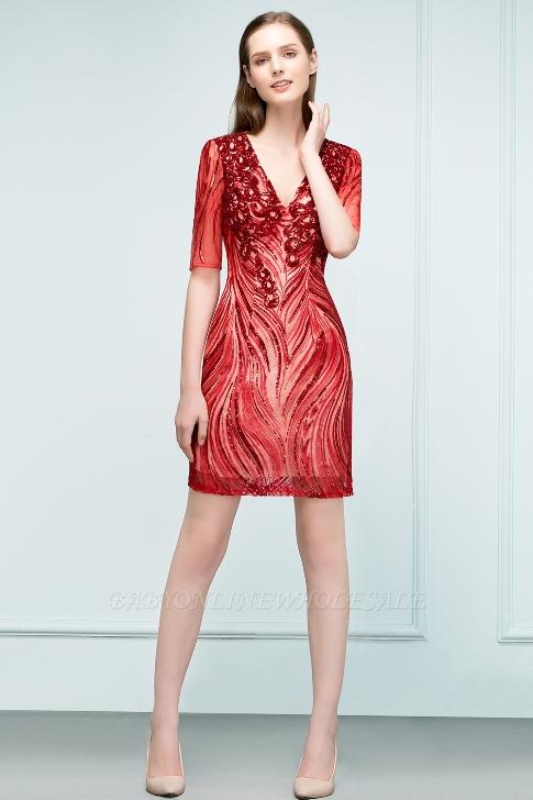 STEPHANIE | Sheath V-neck Half Sleeves Short Sequins Homecoming Dresses-Price:US$ 46.99