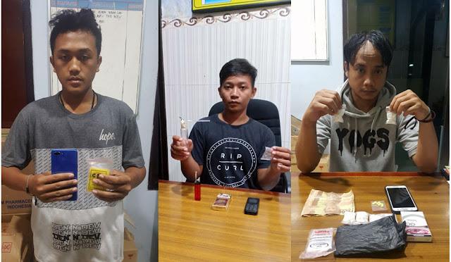 Ketiga pelaku narkoba berikut barang bukti