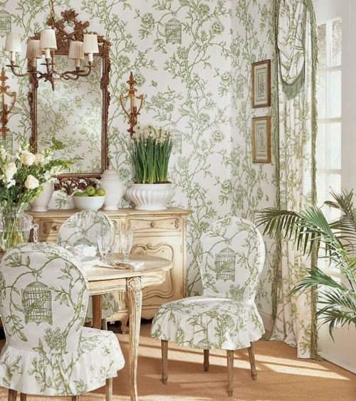 Eye For Design: Matching Upholstery and Wallpaper......Lovely Interiors When Done Correctly