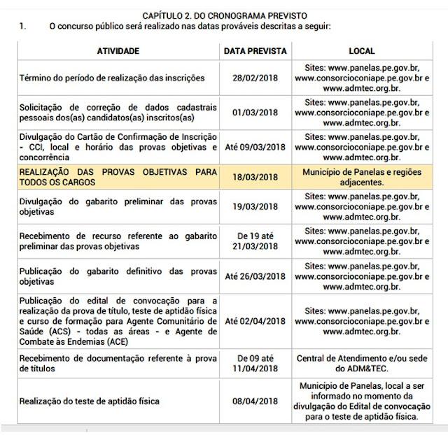 cronograma do Concurso Público da Prefeitura de Panelas
