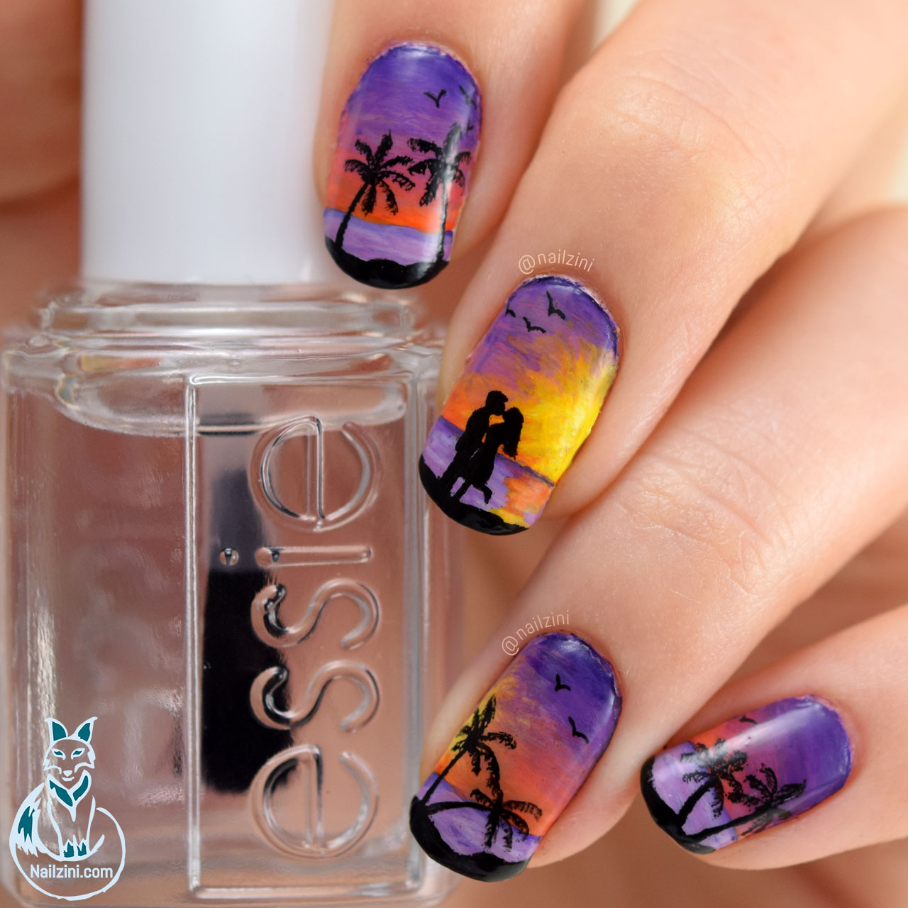 Lovers Beach Sunset Valentine Nail Art Nailzini