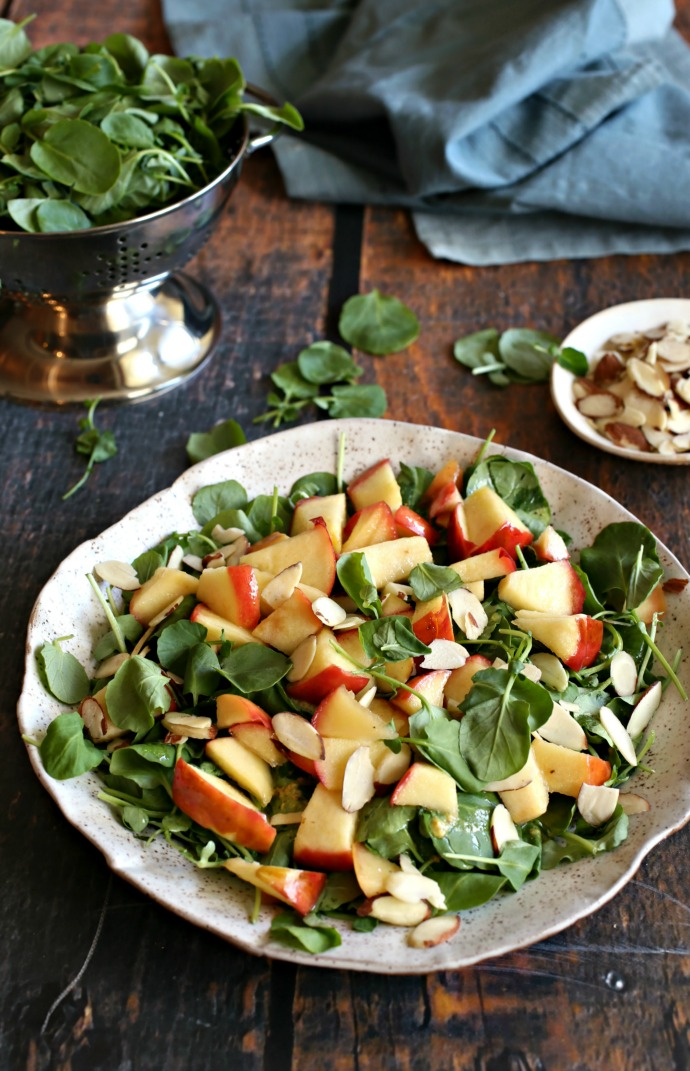 Watercress-Salad-with-Honey-Sauteed-Apples-and-Almonds
