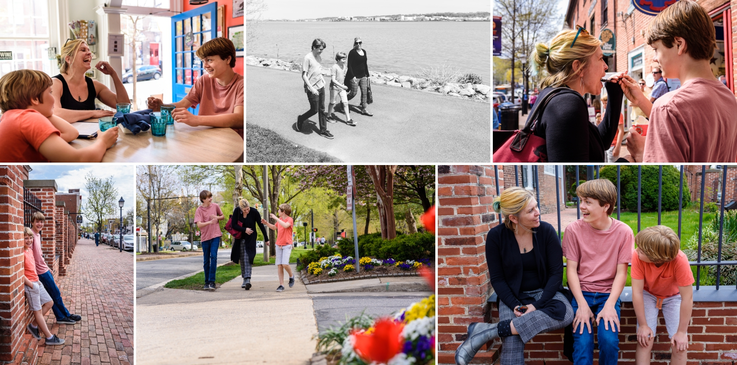 collage of Afternoon in the Life session in Old Town Alexandria from Diana Sherblom Photography