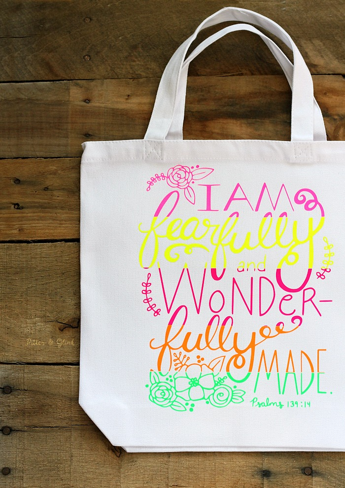 Neon Color Blocked Hand Lettered Tote Bag
