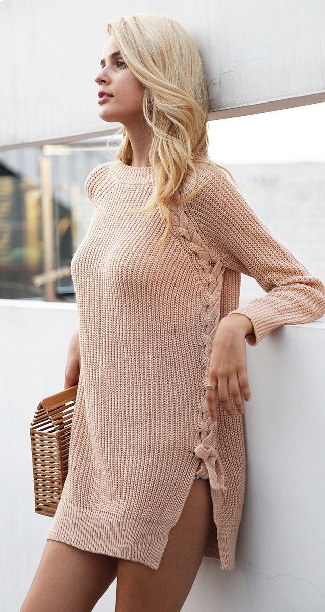 Elegant lace up winter sweater