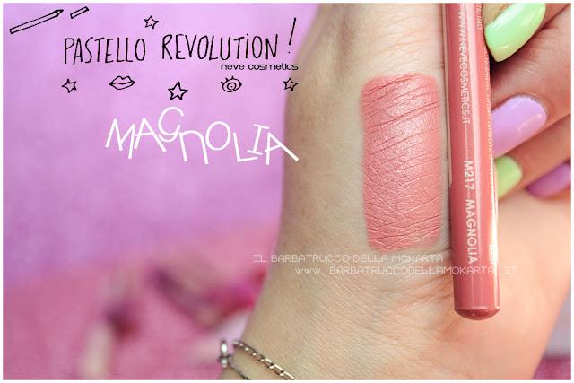 magnolia swatches  BioPastello labbra Neve Cosmetics  pastello revolution
