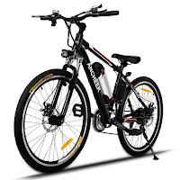Ancheer Power Plus Electric Mountain Bike, full electric mode or 3 pedal assist modes, 250w high speed brushless gear motor, 35v 8AH ion lithium battery, speeds up to 25 km/h, distance 25-50 km range