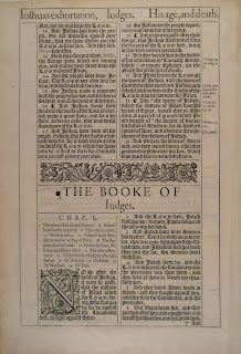 "A photograph of printed text, including the beginning of a section titles ""The Booke of Judges."""
