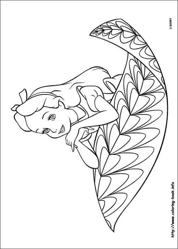 ภาพระบายสี: ภาพวาดระบายสีการ์ตูนอลิส อิน วันเดอร์แลนด์