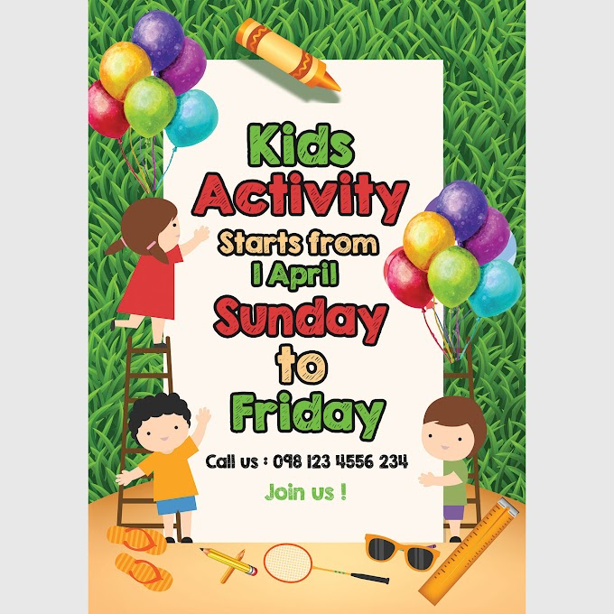 Kids Flyer Outdoor Activity Children Day Flyer Template PSD