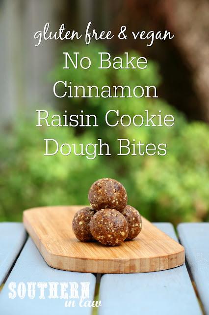 No Bake Cinnamon Raisin Cookie Dough Bites Recipe – Oatmeal Cookie Raw Bites – bliss balls, raw balls, gluten free, peanut free, sugar free, clean eating recipe, vegan