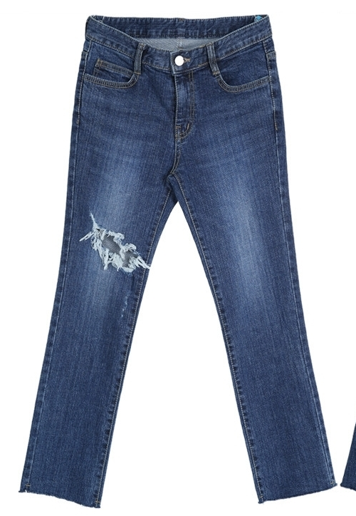 Rip Accent Cropped Jeans