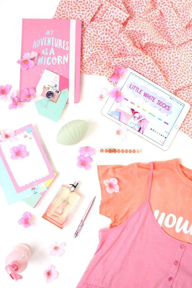 pastel fashion flatlay