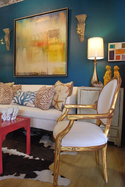 The Verbena Cottage Bright Blue Walls Yellow Amp Lacquer Red
