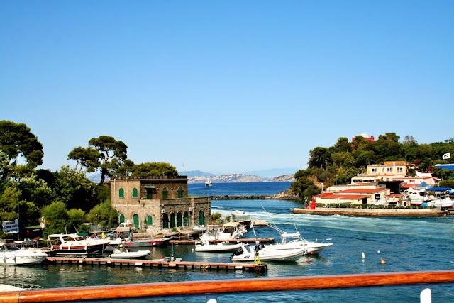 mare, acqua, porto, barche, case, alberi, vegetazione, cielo, isola, Ischia